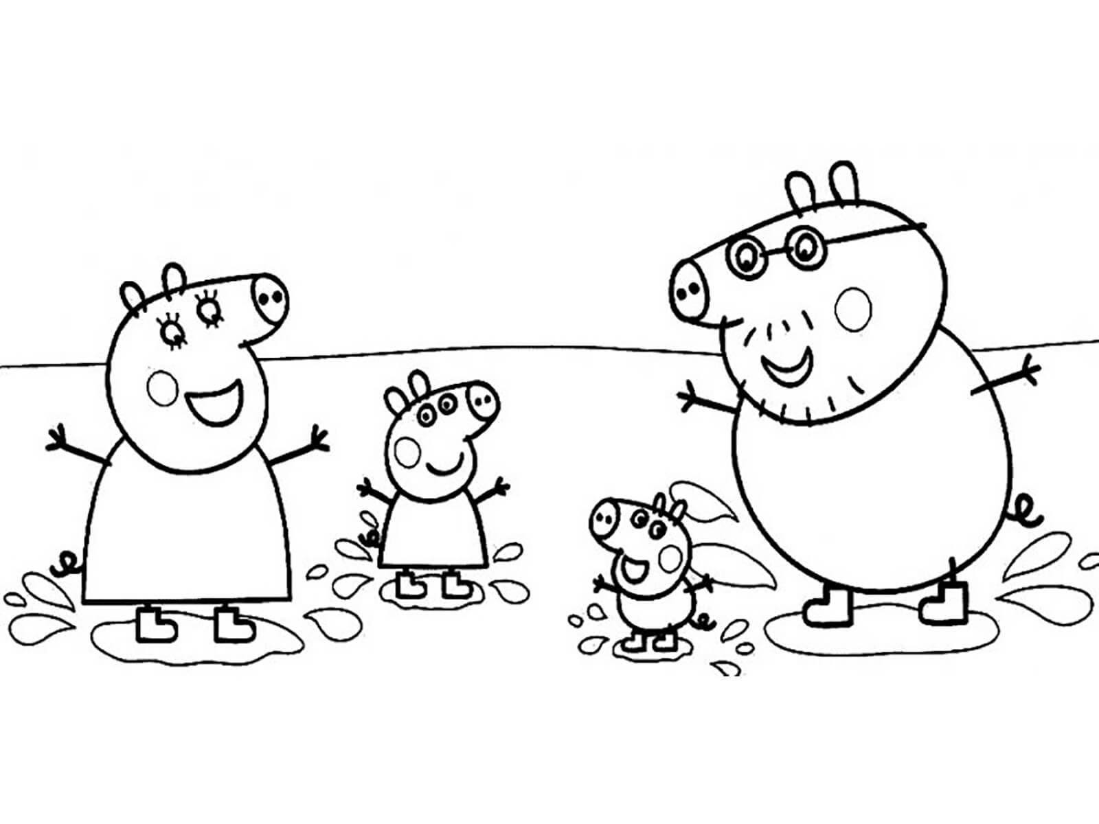 свинка пеппа прыжки по лужам раскраски папины сказки