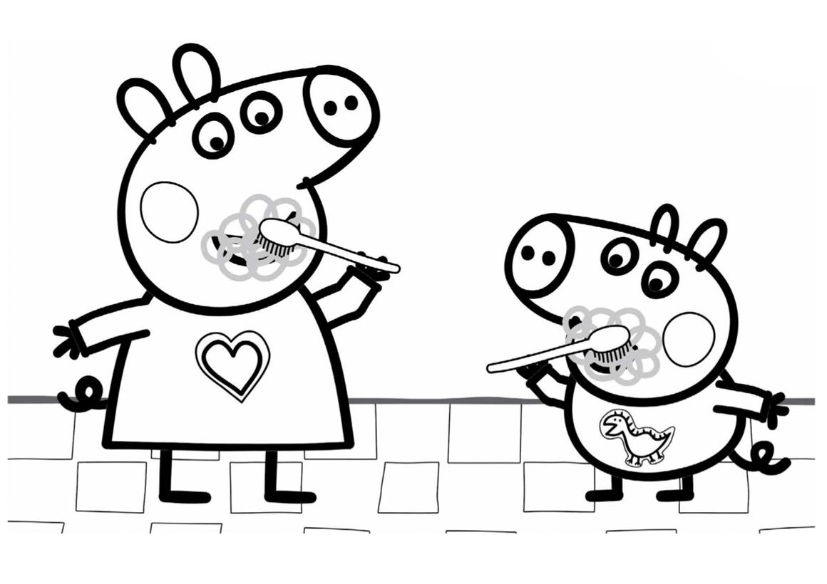Свинка Пеппа Чистит Зубы | Папины Сказки - скачать раскраски
