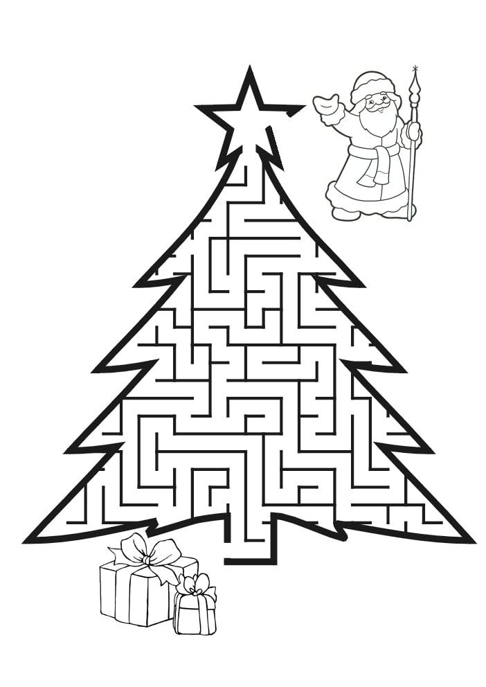 Новогодняя Елка Лабиринт   Папины Сказки - скачать раскраски