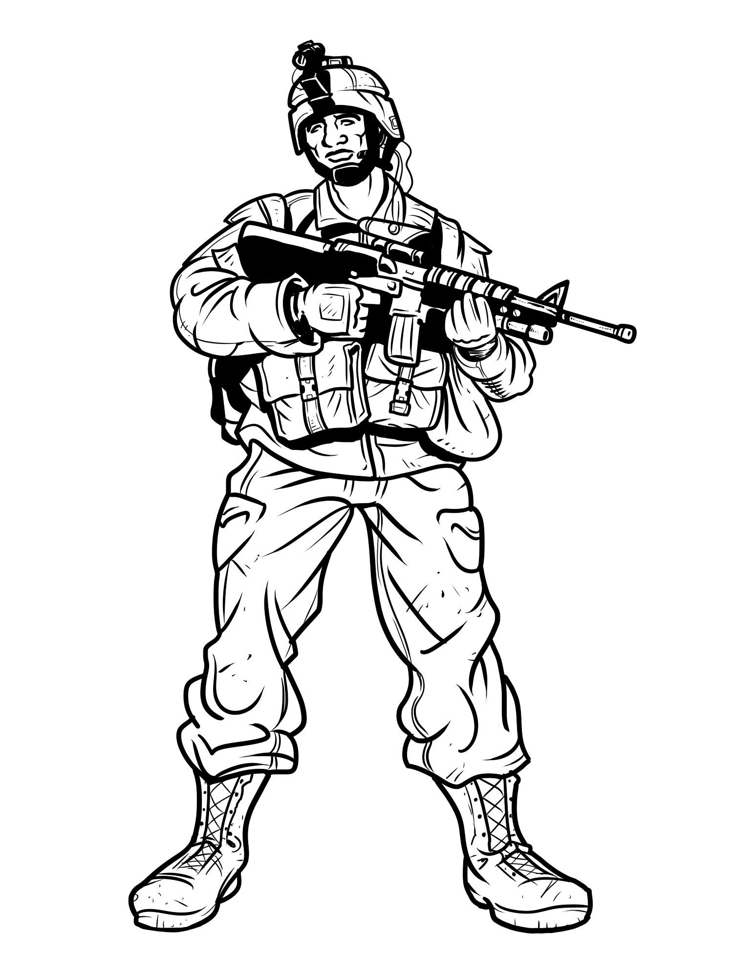 Раскраска солдаты военные