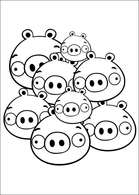 Много Свиней | Папины Сказки - скачать раскраски Angry Birds